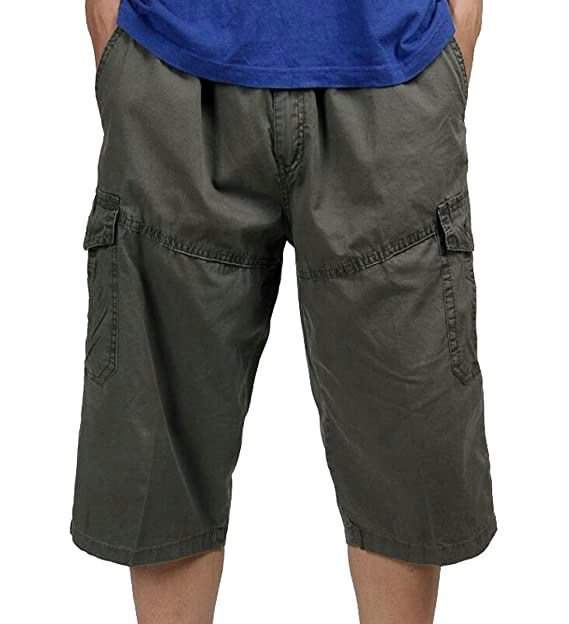 d702865ab6 Oberora-Men Casual Mid Waist Multi Pockets Plus Size Cargo Shorts Pants  Army Green S