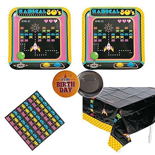 80's Arcade Video Game Party Pack for 16 guests, plates, napkins, Tablecover -