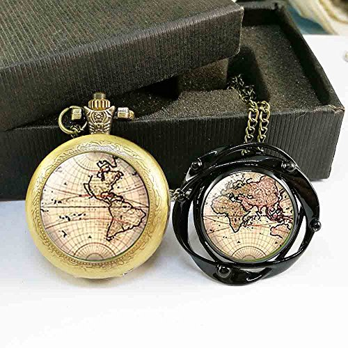 (World map Earth Quartz Pocket Watch and Big Flower Ring Black Adjustable Free Box for Gift)