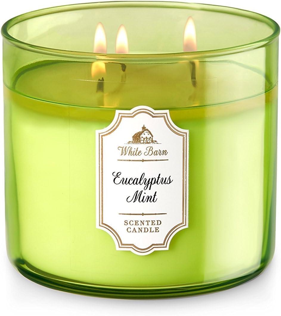 Dpnamron Bath & Body Works White Barn Eucalyptus Mint Scented 3 Wick Candle 14.5 oz./411 g