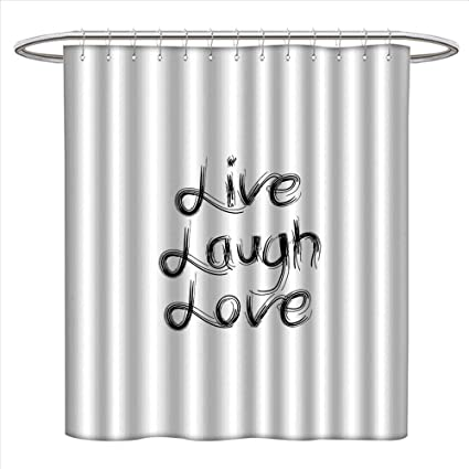 Anmaseven Live Laugh Love Shower Curtain Customized Abstract Hand Lettering Inspirational Quote With Monochrome Design Lines