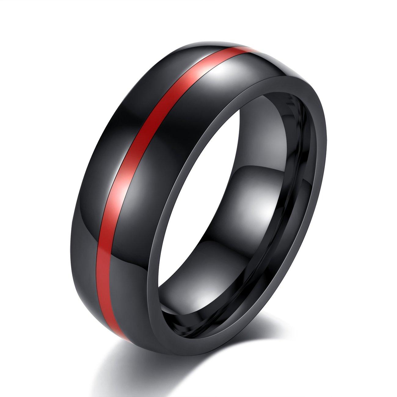 Revemcn 8mm Black Stainless Steel Thin Line Polished Finish Wedding Band Ring For Men Women 4 Coloramazon: Gunmetal Thin Wedding Band At Reisefeber.org