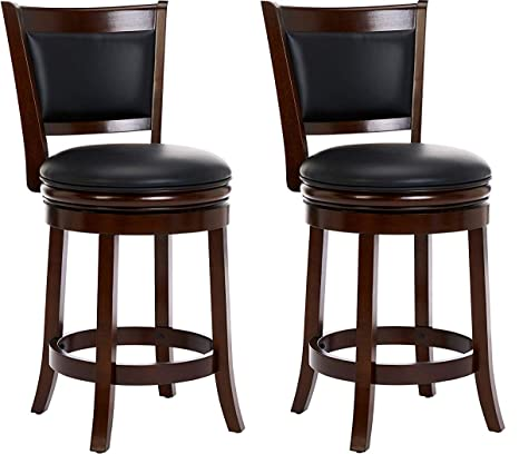 Peachy Ball Cast Jayden Hardwood Counter Height Swivel Bar Stool With Faux Leather Upholstery 24 Inch Set Of 2 Bayou Brown Evergreenethics Interior Chair Design Evergreenethicsorg