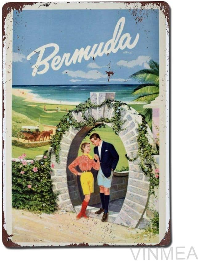 Retro Vintage Poster Cover Tin Metal Sign, Ermuda Moongate Arch Golf Beach Horse Carriage Wall Decor for Bar Restroom Home Bedroom Living Room 8 X 12 Inch