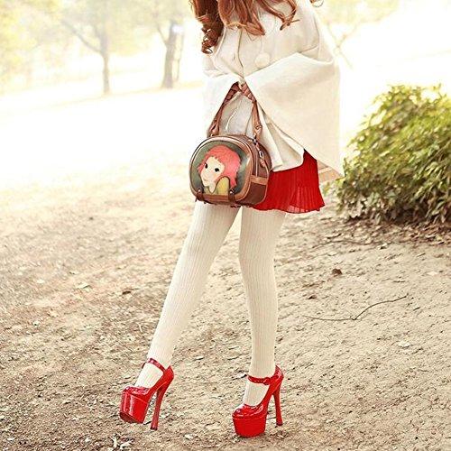 Chaussures femme CJC Haute Talon aux Femmes Rond Doigt de Pied Stylet Plate-Forme Caleçon sur Pompes (Couleur : T1, Taille : EU36/UK4) T1