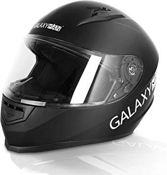 L,Matte Black Galaxyman Full Face Motorcycle Helmet Compact Motocross Off-Road Dirt Bike ATV Helmet for Unisex-Adult DOT Approved