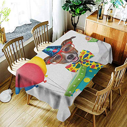 XXANS Tablecloth,Kids Birthday,Waiter Server Party Dog with Hat Cone Cupcake Balloons Celebration Boxes,Party Decorations Table Cover Cloth,W52x70L Multicolor ()