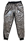 Shopglamla Women's Juniors Mix PU-Leather Stretch Jogger Denim Pants Front Pu-Mix Leopard S