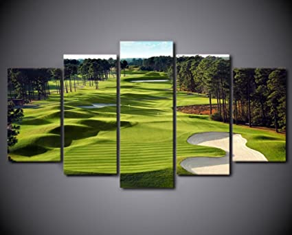 5PCS Framed Colorful Golf Course Canvas Prints - 5 Piece Canvas Golf ...