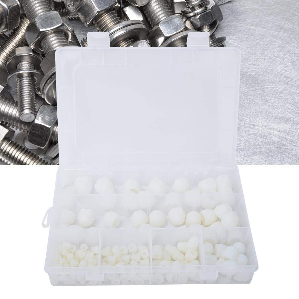 M10 145Pcs M4 M8 M5 M6 M12 Tapa de Perno Hexagonal Kit de Tuercas de Goma Blanca Kit de Tuercas de C/úpula Cubierta de Protecci/ón Para Accesorios de Kit de Tornillo