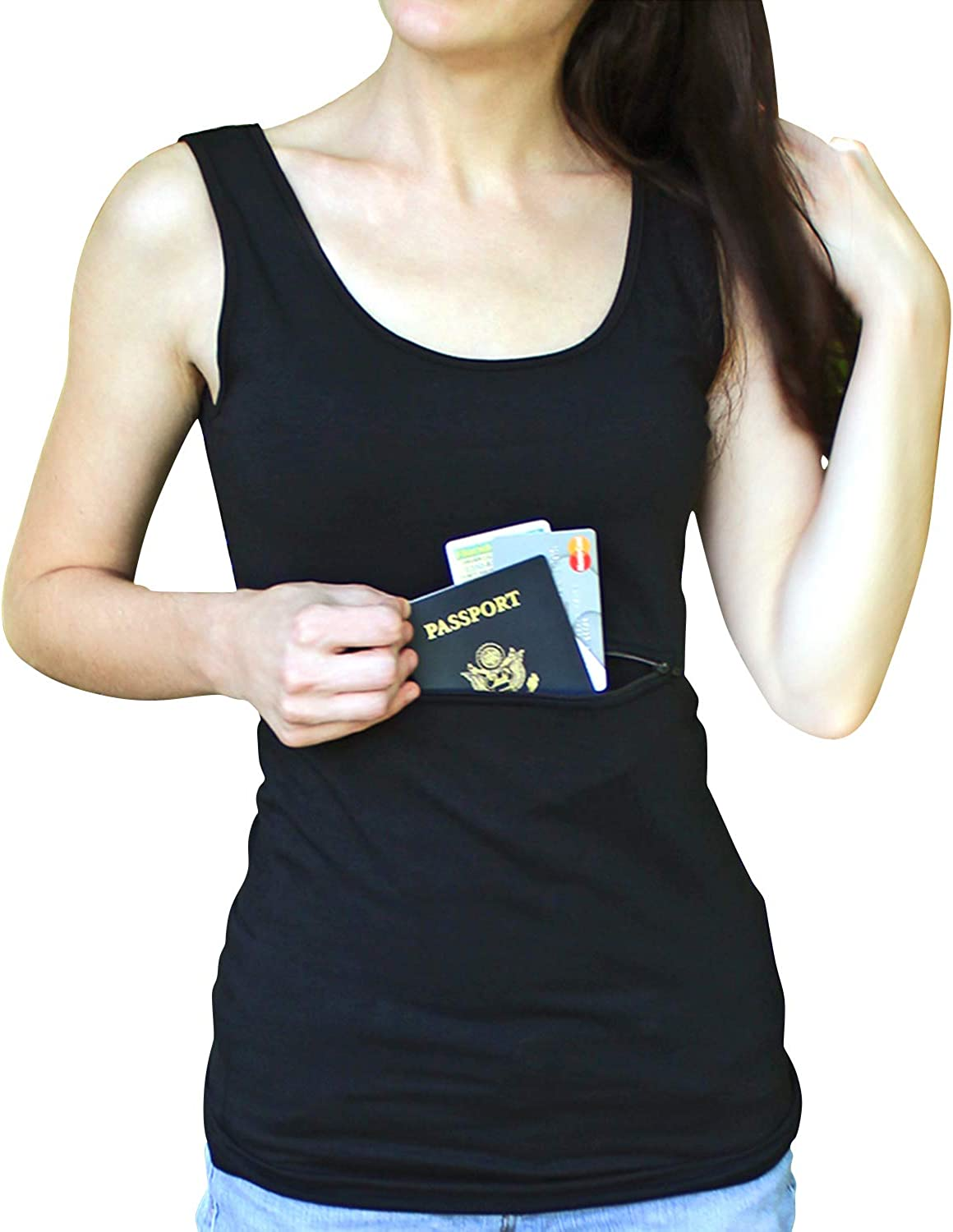 Clever Travel Companion Unisex Tank Top with Hidden Zipper Pockets, 100% Pickpocket Proof Holiday Tour