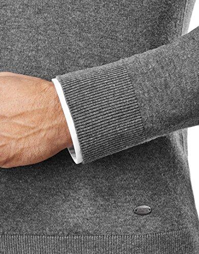 Vincenzo Boretti Herren Pullover - klassischer Strickpullover mit V-Ausschnitt, tailliert/slim-fit,dunkelgrau,M