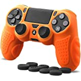 CHINFAI PS4 Controller DualShock4 Skin Grip Anti-Slip Silicone Cover Protector Case for Sony PS4/PS4 Slim/PS4 Pro Controller with 8 Thumb Grips (Orange)