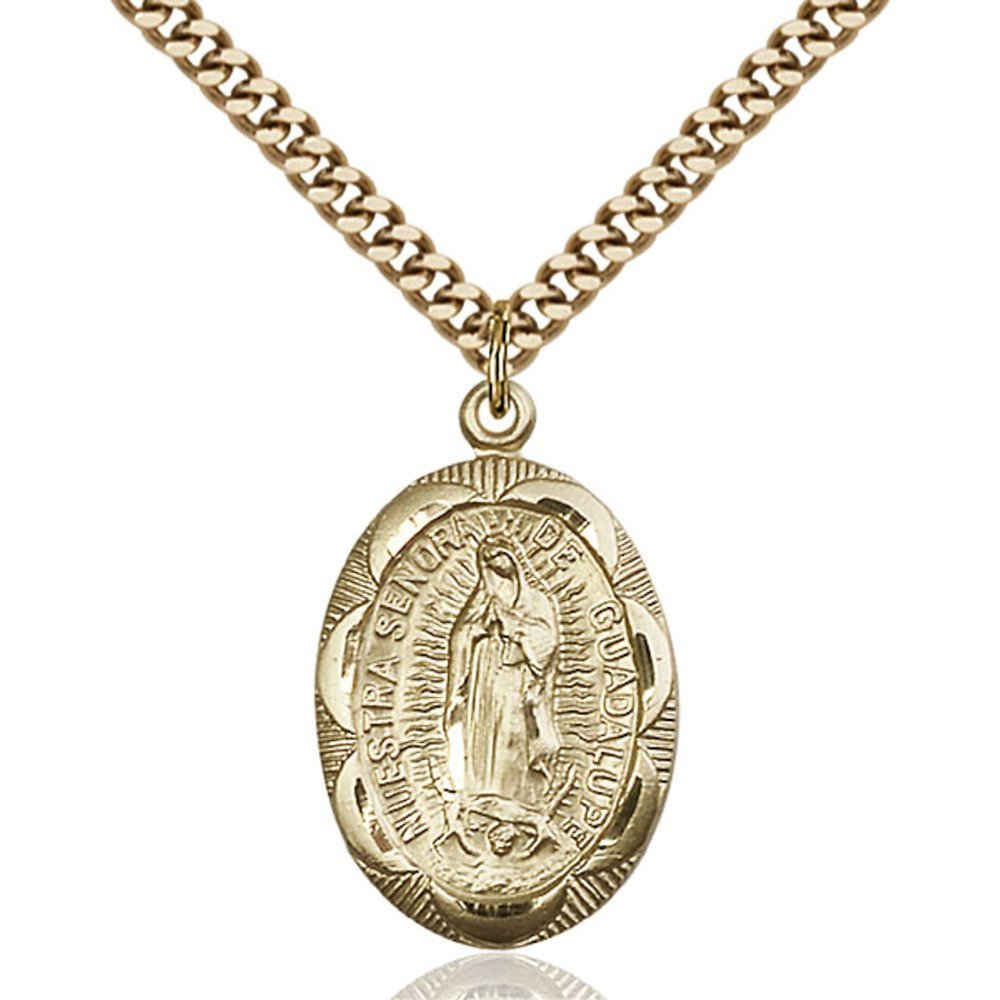 Gold Filled Our Lady of Guadalupe Pendant 1 x 5/8 inches with Heavy Curb Chain