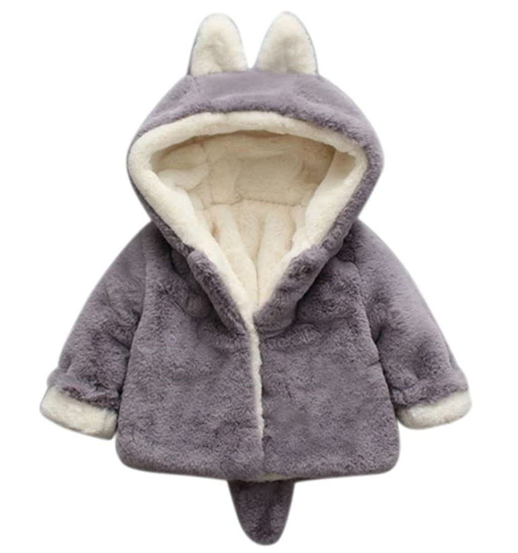 Tenworld Baby Girls Winter Clothes Thick Warm Fleece Jacket Coat with Hood Ears