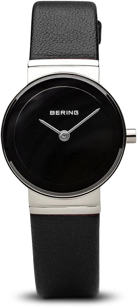 Bering Classic - Reloj analógico de mujer de cuarzo con correa de piel negra - sumergible a 50 metros