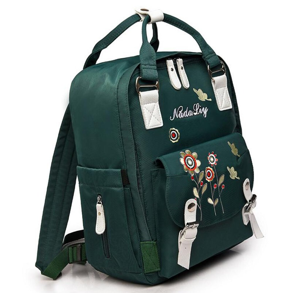 RYRYBH Canvas Casual Mom Outing Bag Womens Shoulder Bag Backpack Multi-Function Backpack Handbag Embroidered Flower Lightweight Mother Bag