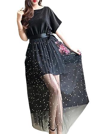 64bf76f770c Fseason-Women Dolman Sleeve Studded Homecoming Cocktail Dress 2pcs Black XS