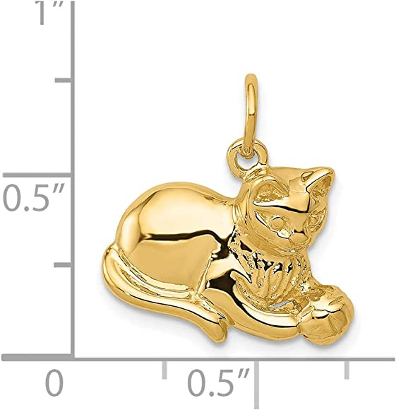 Amazon.com: Hielo quilates oro amarillo de 14 K Gato ...