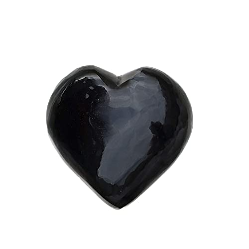 FORBY Natural 1.2 Black Obsidian Pocket Heart Love Stone Carved Palm Worry Stone Heart Shaped Healing Crystals for Chakra Reiki Balancing Therapy Meditation Home Decoration