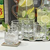 Honeycomb Thumbprint Bar Glass Set 8 | Double Old Fashioned Highball 4'' Classic