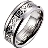 JewelryWe 8mm Celtic Dragon Inlay Tungsten Carbide Ring Men's Anniversary/Engagement/Wedding Band
