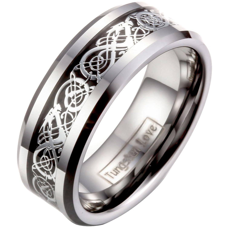 JewelryWe 8mm Celtic Dragon Inlay Tungsten Carbide Ring Mens