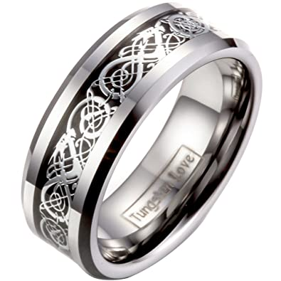 JewelryWe 8mm Celtic Dragon Inlay Tungsten Carbide Ring Men's Anniversary/Engagement/Wedding Band LJ6dgb7B