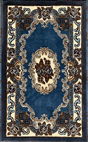 - Carpet King Traditional Floral Door Mat Oriental Area Rug Blue Beige Brown Kingdom Design D121 (2 Feet X 3 Feet 4 Inch)