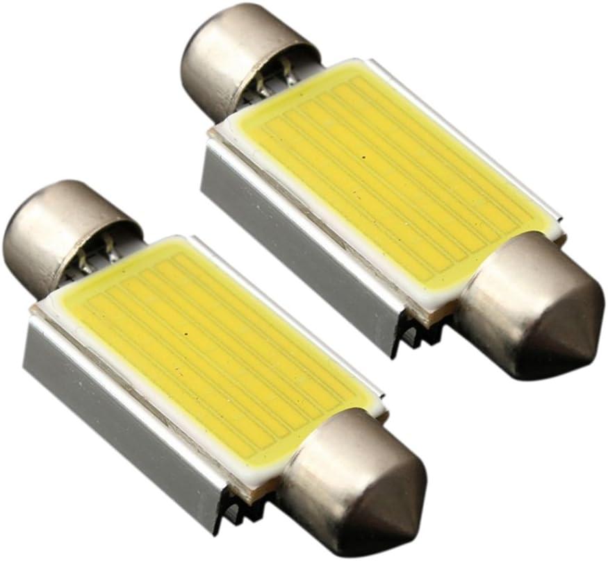 Nrpfell Un par Doble Punta COB C5W 12 LED luz Blanca Lampara de Placa de matricula 31MM
