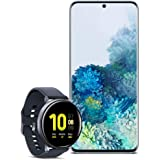 Samsung Galaxy S20 5G Factory Unlocked New Android Cell Phone US Version 128GB of Storage, Blue with Watch Active2 (44mm, GPS, Bluetooth), Aqua Black