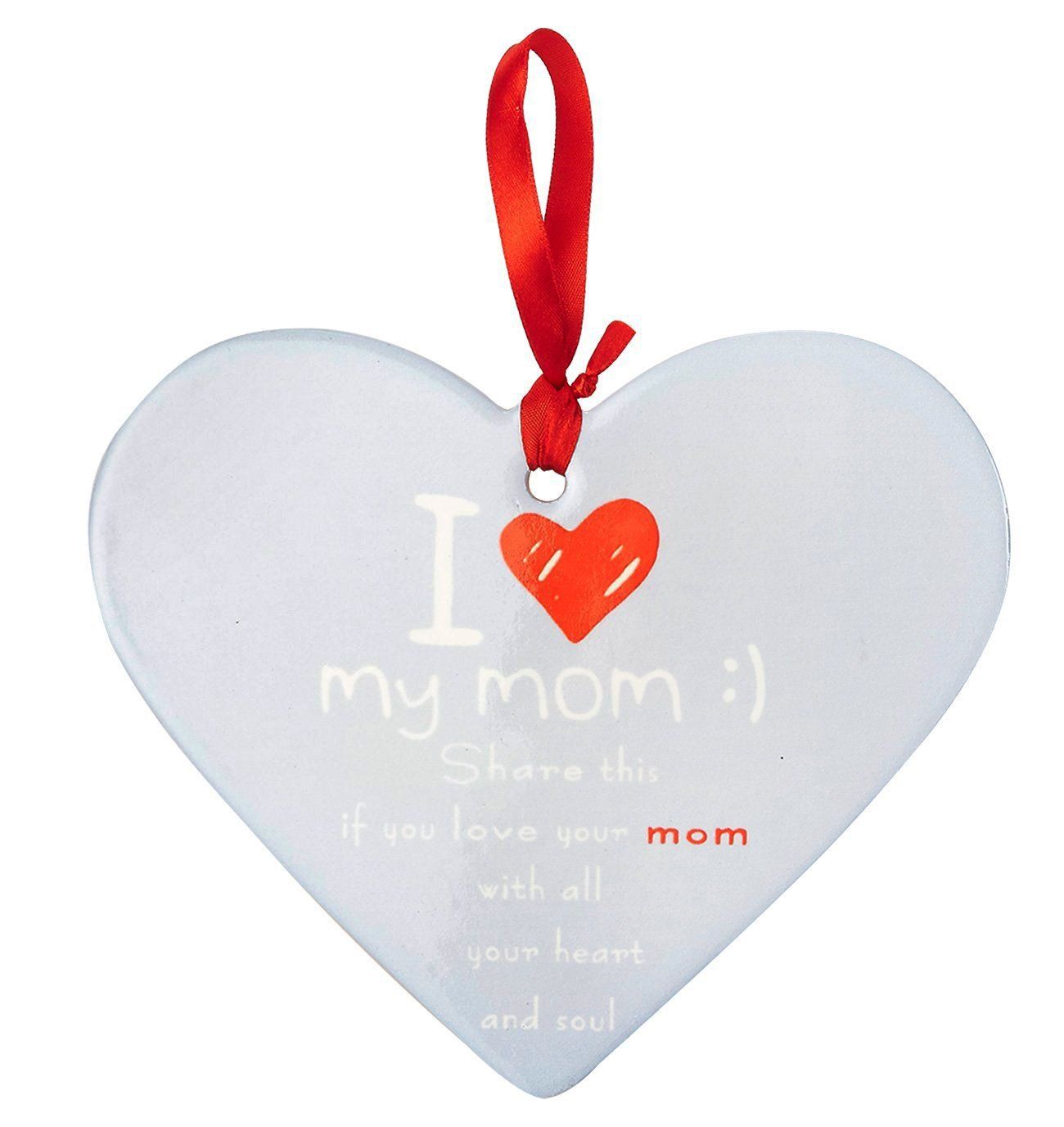 Blue I Love My Mom Plaque in Heart Shape 7.5 x 0.25 x 6.25 Inches Juvale Ceramic Plaque Wall Hanging Sign