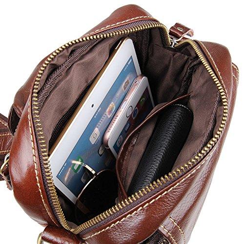 E-Bestar Vintage vera pelle traversa messaggero spalla uomo casuale per porta cellulare portafoglio marrone