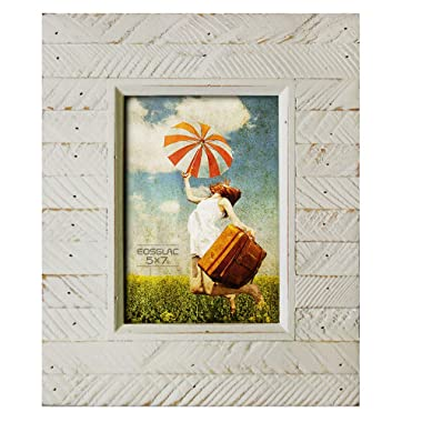 EosGlac Wooden Picture Frame 5 x 7, Rustic Striped Look with Glass Front, Hand Crafted Photo Frames, Tabletop and Wall Mounting (5x7, White)