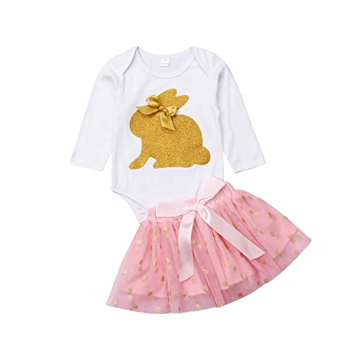 42a78db24 Amazon.com: Newborn Baby Girls Long Sleeve Bunny Romoer Tutu Skirts Sets  Clothes: Clothing