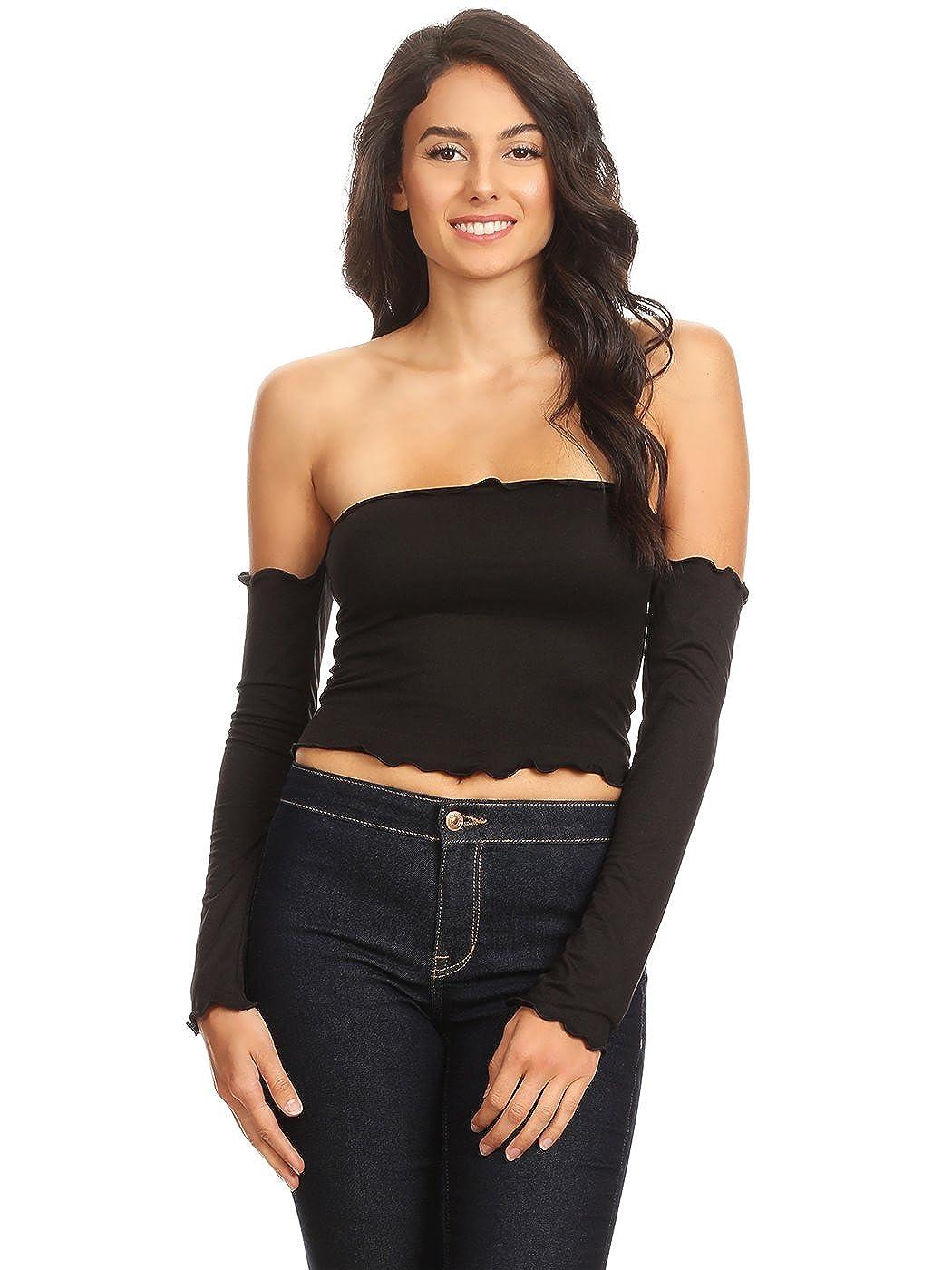 2f7f4ab5d18 Anna-Kaci Slim Fit Minimalist Chic Long Sleeve Off Shoulder Ruffle Trim Crop  Top at Amazon Women's Clothing store: