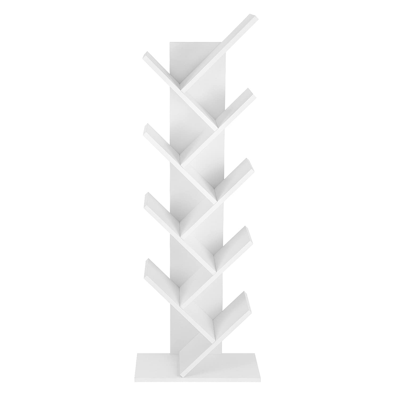 Bureau VASAGLE /Étag/ère /à 8 Niveaux pour Livres en Forme Arbre Biblioth/èque en Bois pour Salon Blanc LBC11WTV1