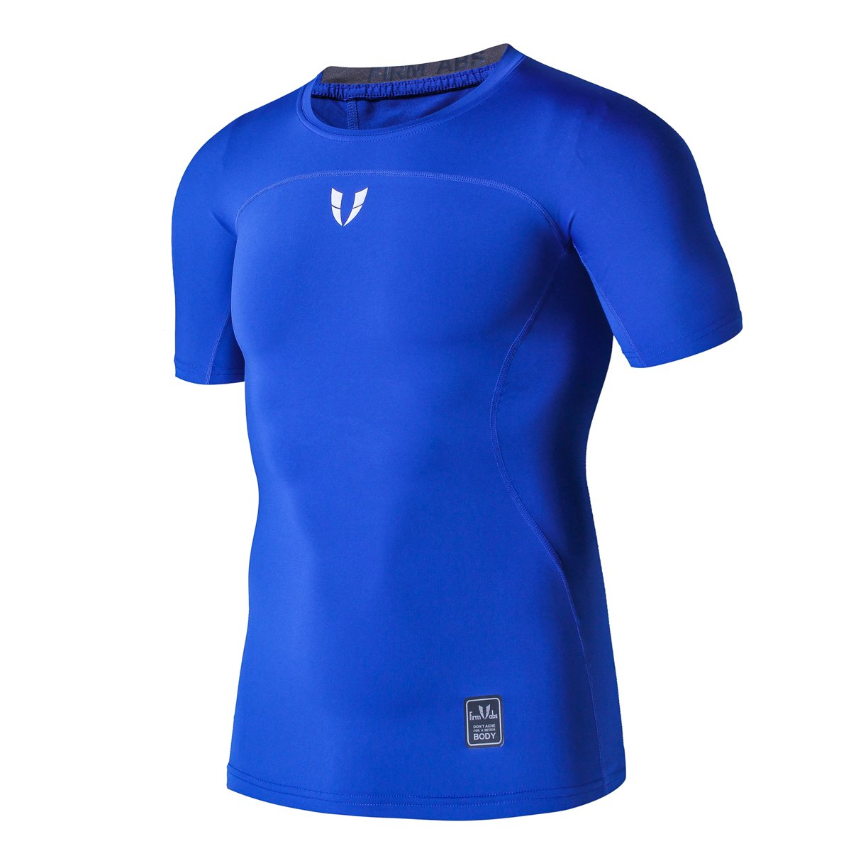 FIRM ABS Short Sleeve Sports Compression Shirt Mens Shirts (L,Blue)