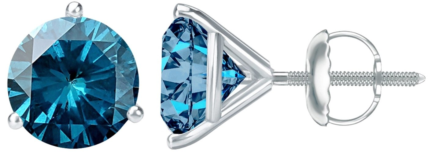 2 Carat Total Weight Blue Diamond Solitaire Stud Earrings Pair Platinum Popular Premium Collection 3 Prong Screw Back