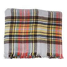 Wholesale Princess Women's Plaid Blanket Scarves (Gray/Orange/Yellow)