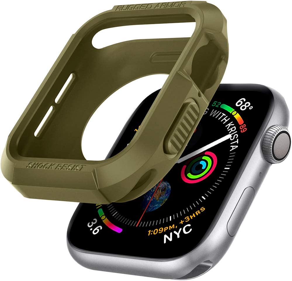 Spigen Rugged Armor Designed for Apple Watch Case for 44mm Series 6/SE/5/4 - Olive Green