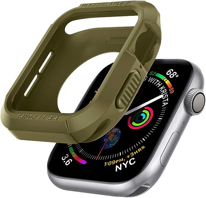 Spigen Rugged Armor Designed for Apple Watch Case for 44mm Series 6/SE/5/4 - Olive Green
