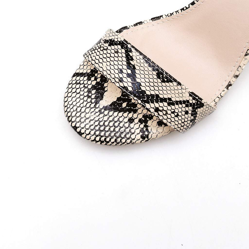 Summer Summer Women Sandals Snake Print Ankle One Word Buckle Sandals Shoes by LUXISDE (Image #8)