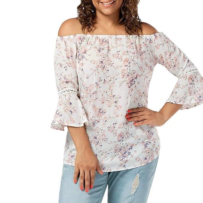 Mujer Camisas Verano Elegantes Tallas Grandes Shirt Moda Anchos Túnica Barco Cuello Shirts Trompeta Manga Floreadas