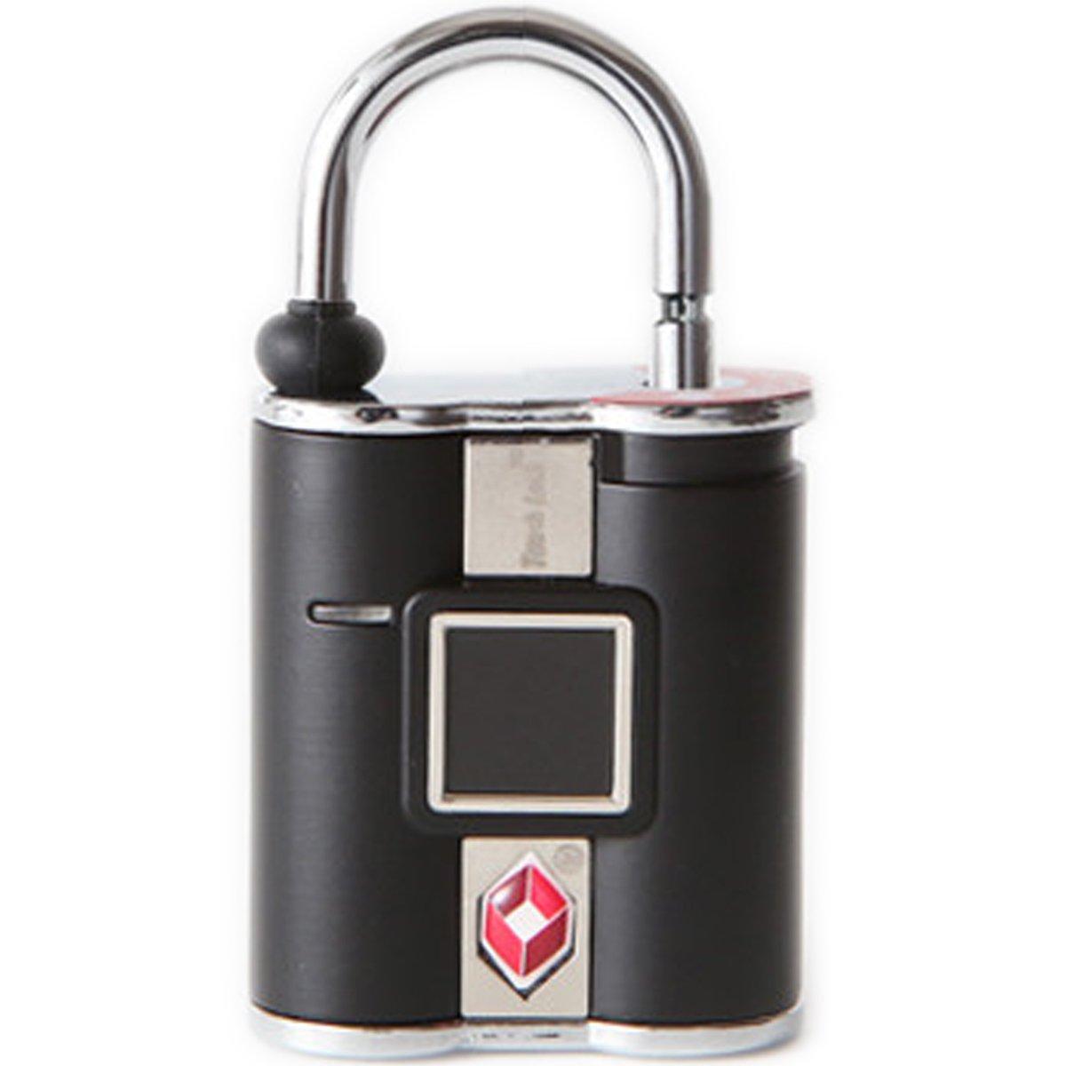 鍵の要らない指紋認証型スマート南京錠「TouchLock(タッチロック)」 TSA ブラック TSAロック対応済み B0784WLKXN  ブラック