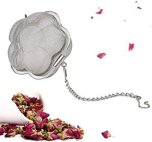 TBWHL Flower Shaped Loose Leaf Tea Infuser Ball, Stainless Steel Flower Bloom Fine Mesh Hot Tea Infuser Tea Strainer Ball, 2-Inch