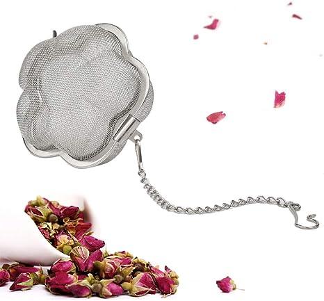 2-Inch Stainless Steel Flower Bloom Fine Mesh Hot Tea Infuser Tea Strainer Ball TBWHL Flower Shaped Loose Leaf Tea Infuser Ball
