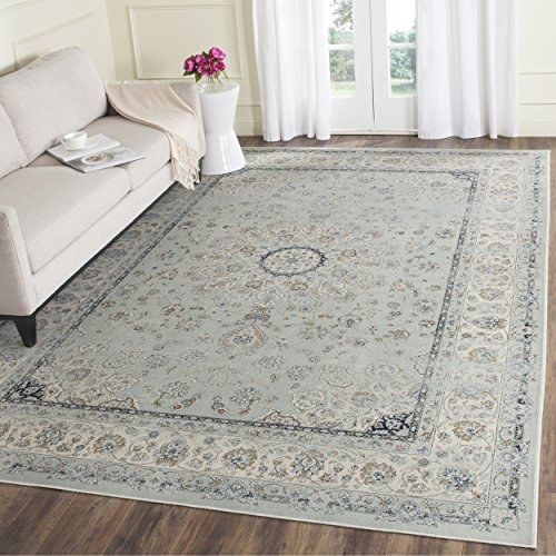 Safavieh Persian Garden Vintage Collection PGV605L Traditional Light Blue and Ivory Silky Viscose Distressed Area Rug (8' x 11')