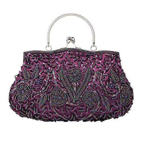 Evening Bag Bag Bag Ladies Handmade Retro Purple Dress Party Beaded Bag TY5fTHwq
