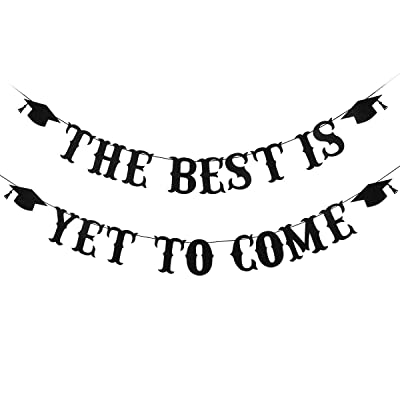 Black Glittery The Best Is Yet To Come Banner- 2020 Graduation Party Decorations/Grad Party Supplies: Toys & Games